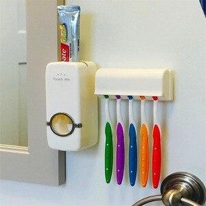 Image 3 - Ucuz banyo otomatik diş macunu dağıtıcı diş macunu sıkacağı duvar macun monte diş fırçası tutucu banyo aksesuarları