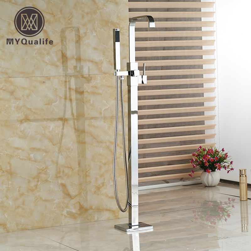Bathroom Floor Mount Free Standing Bathtub Filler Bath Tub Faucet Chrome Finish with ABS Handshower