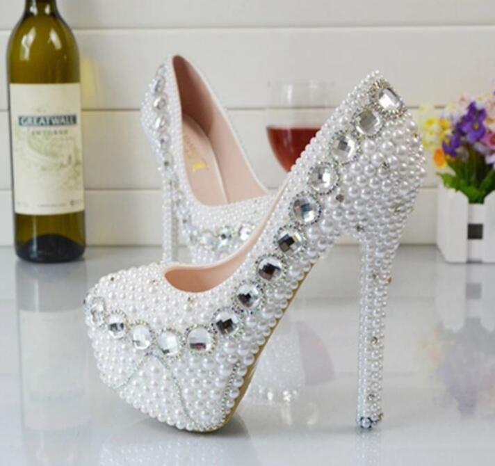 Фото Silver crystal white pearls brides wedding shoes super high heel customized 8cm/11cm/14cm heeled bridal ladies party shoe HS103