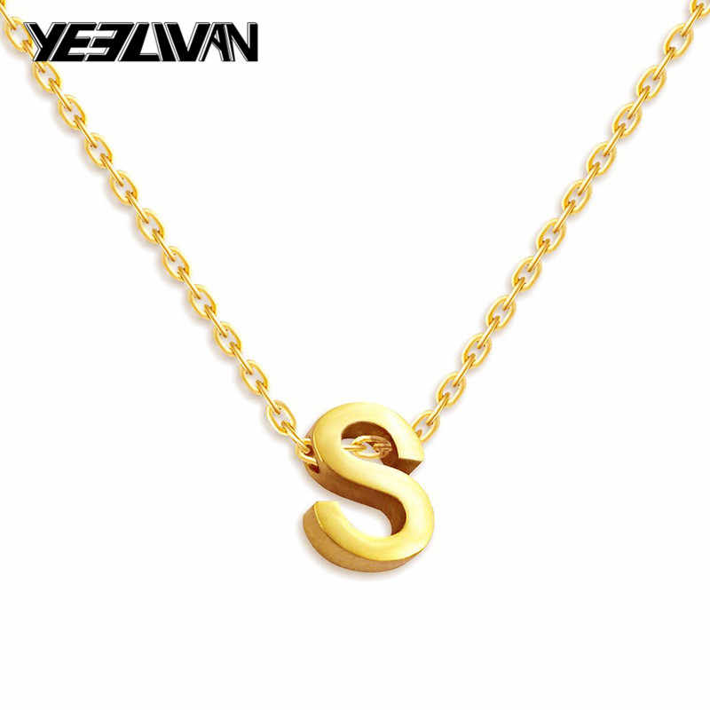 No fading Tiny Gold Initial Necklace New Stainless Steel Rose Gold Letter Initials Name Necklaces Personalized Pendant for Women
