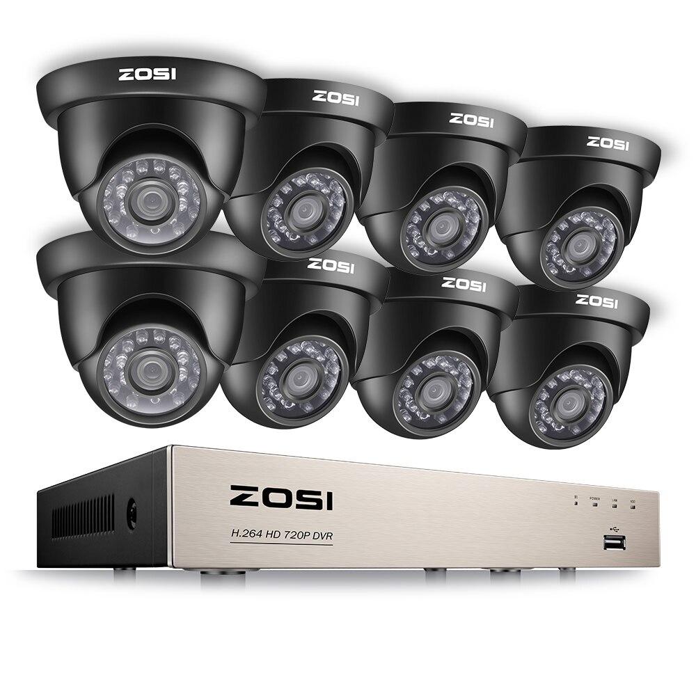 ZOSI 8-Canal HD-TVI 1080N DVR Système de Surveillance de Sécurité avec 8 PCS Haute-Résolution 720 P/1280TVL caméras