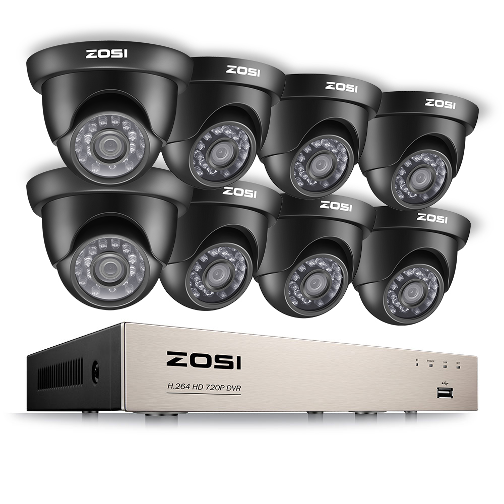 ZOSI 8-Channel HD-TVI 1080N DVR Security Surveillance System with 8PCS High-Resolution 720P/1280TVL Cameras
