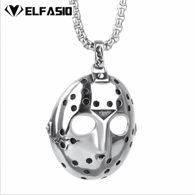 Friday the 13th jasons mask horror mens silver pendant necklace friday the 13th jasons mask horror mens silver pendant necklace with 51 76cm chain fashion aloadofball Choice Image