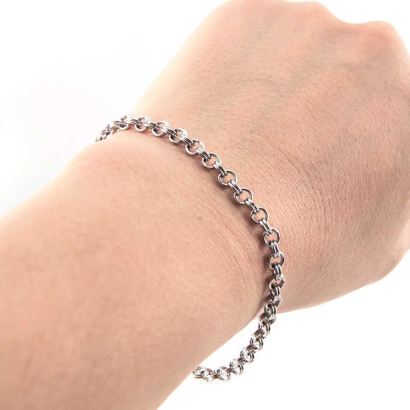 Simsimi mujer joyería de doble lazo pulsera 4mm de ancho doble círculo rolo cadenas pulsera de acero inoxidable