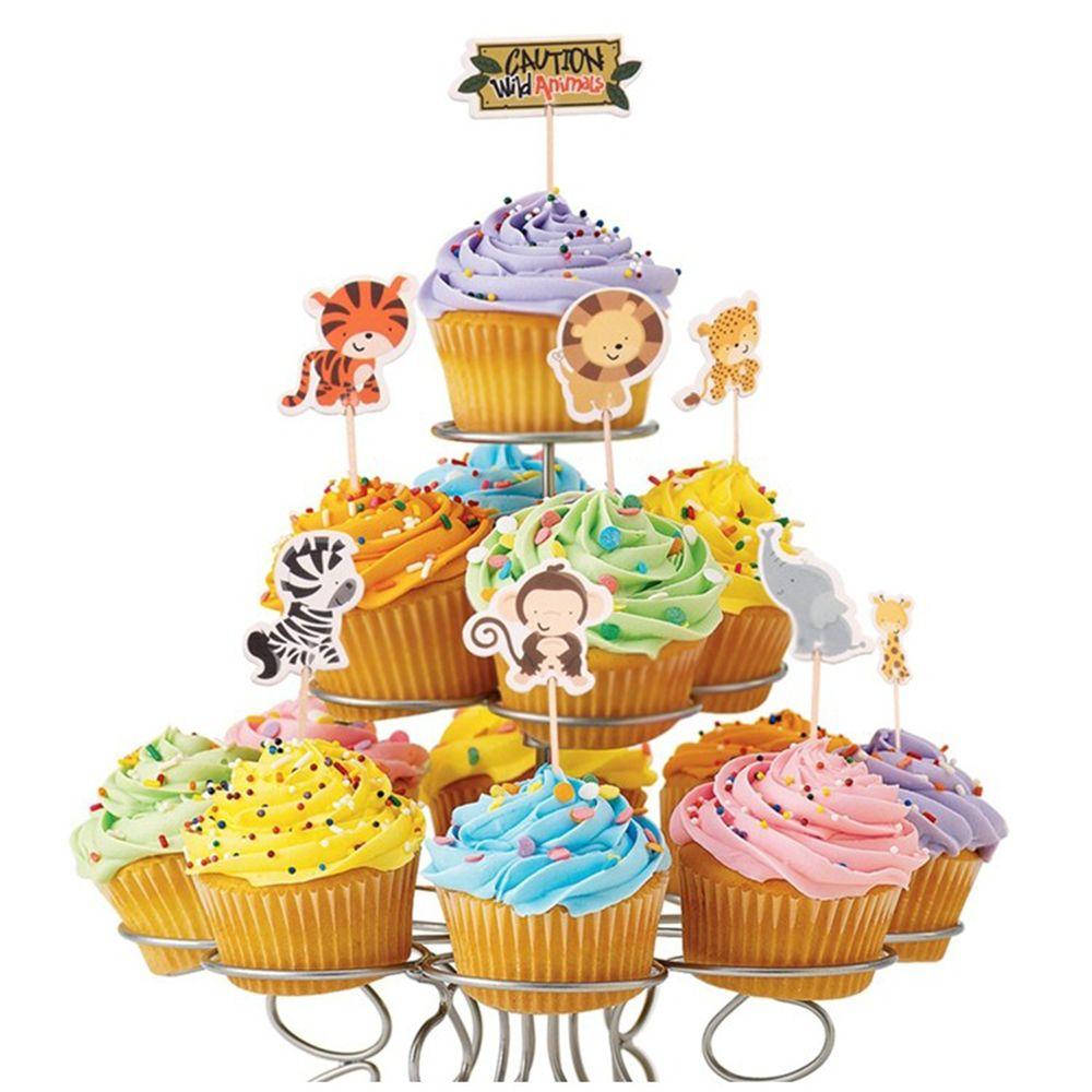 24Pcs/Pack Multicolor Safari Jungle Animal Cupcake Toppers ...