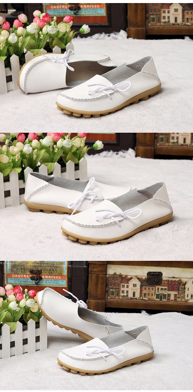 2016 New Real Leather Woman Flats Moccasins Mother Loafers Lacing Female Driving Casual Shoes In 16 Colors Size 34-44 ST179 (13)