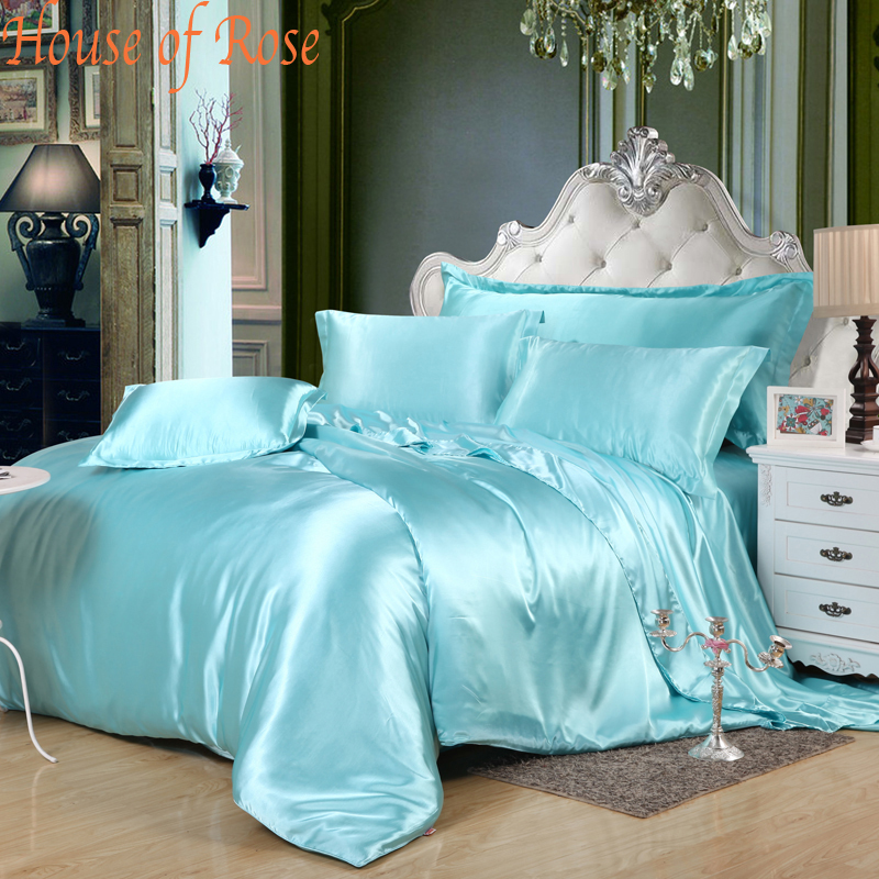 Luxury Sky Blue Silk Bedding Sets 4pc Comforter Set Duvet