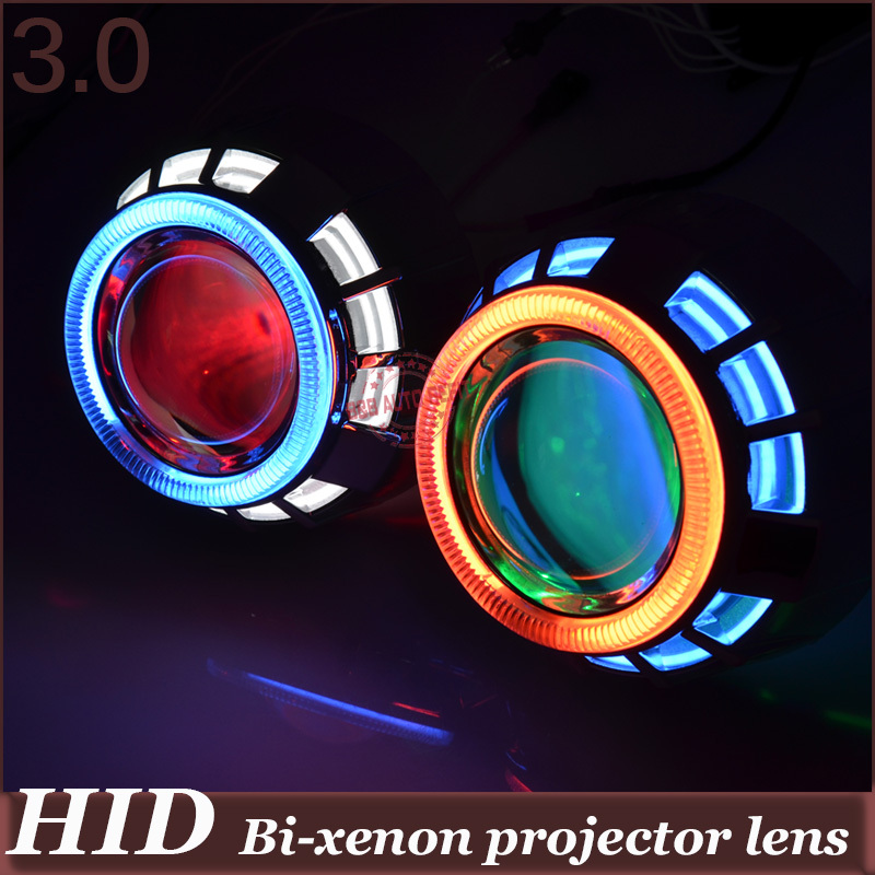 Car Styling 3.0 inch Headlight Retrofit  HID Bi Xenon Projector Headlight Lens H1 H4 H7 Angel Eyes Xenon kit  Double CCFL girl suit new pattern summer wear children pure cotton twinset child 2 pieces kids clothing sets suits