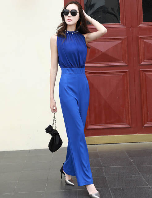 7009bfc35b8 MOBTRS Woman Fashion Jumpsuit Designs Luxury Solid Color Jumpsuit Women  Summer Sexy Women Jumpsuit Sleeveless Overal