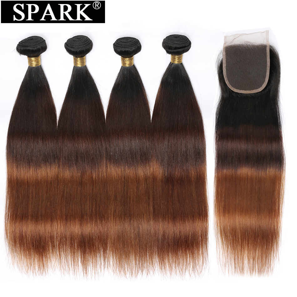 Spark Ombre 3/4 Bundles with Closure Peruvian Straight Human Hair Bundles with Lace Closure Free/Middle/Three Part Remy Hair