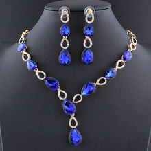 Jiayijiaduo Wedding Dress Jewelry Sets Glass Purple Charm Crystal Necklace Earrings Sets for Women Gold Color Blue Red Black(China)