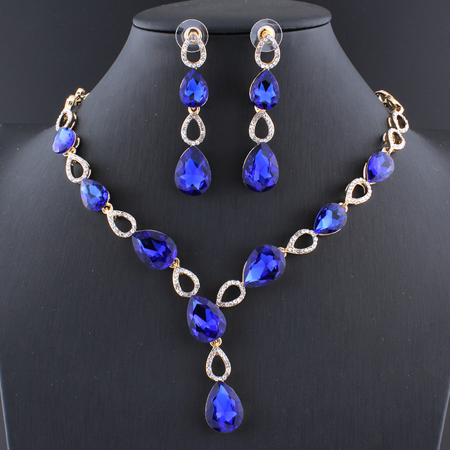 Jiayijiaduo conjuntos de joyas de vestido de boda juego de pendientes de collar de cristal de encanto púrpura de cristal para mujer Color dorado Azul Rojo Negro