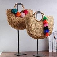 2018 Handmade Female Cotton And Linen Beach Bags Weaving Ladies Knitting Straw Bag Wrapped Bag Tassel