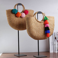 2018 Handmade Female Cotton And Linen Beach Bags Weaving Ladies Knitting Straw Bag Wrapped Bag Tassel