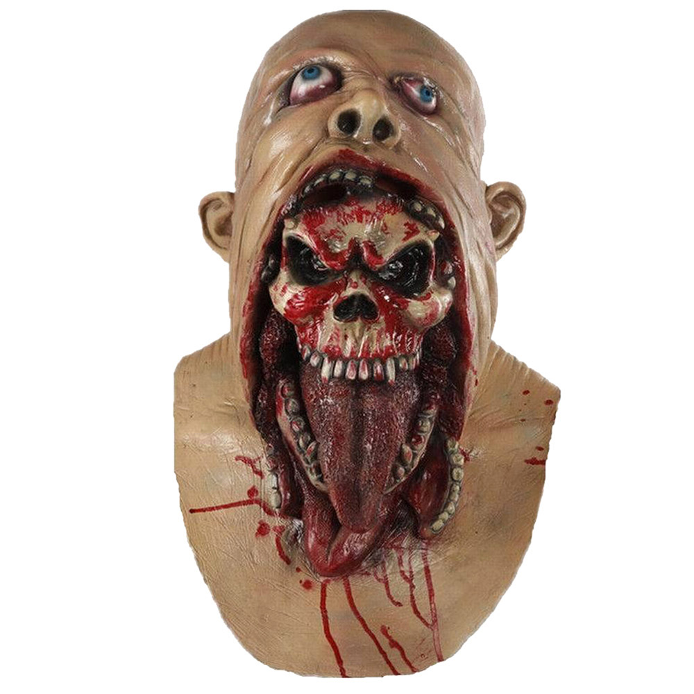 Full Head Mask Melting Zombie Bloody Undead Horror Adult Latex Scary Insane Masquerade Party Halloween Costume