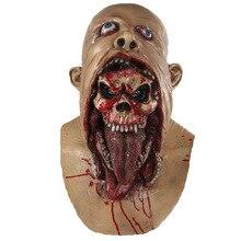 Полный маска голова плавления зомби кровавый нежити ужас для взрослых латекс страшно безумный маскарадный костюм для Хеллоуина маска