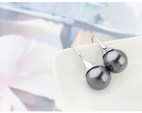 Round Shaped Dark Gray Pearl Earrings For Women Fashion Earrings 2014 Retro Jewelry Bulk Sale Hook