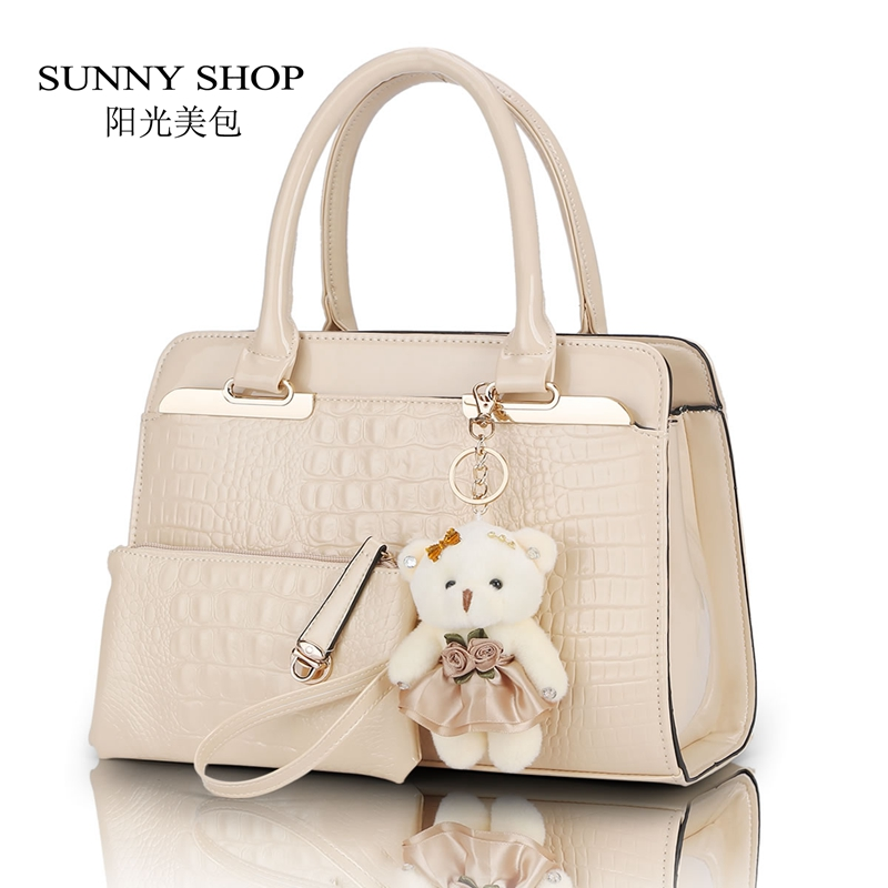 SUNNY SHOP Fashion PU Patent Leather Women Shoulder Bags Elegant Alligator Pattern Women Messenger Bags 2 bags/set w/ Bear Toy sunny shop candy color cute shoulder bags with bear charm women small messenger bags zipper christmas gifts for teenage girls