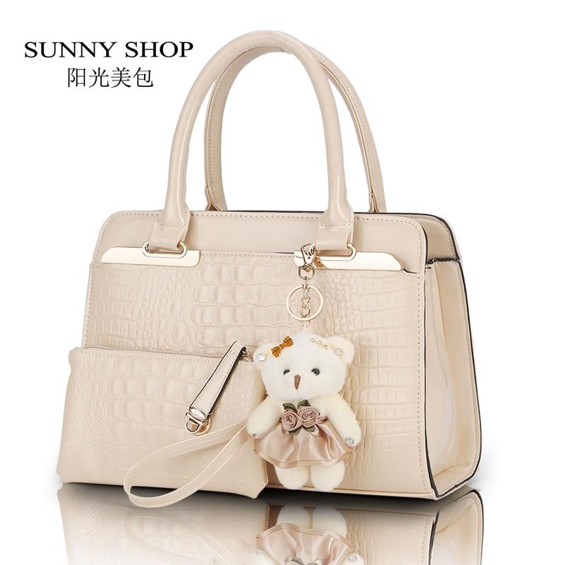 ФОТО SUNNY SHOP Fashion PU Patent Leather Women Shoulder Bags Elegant  Alligator Pattern Women Messenger Bags  2 bags/set w/ Bear Toy
