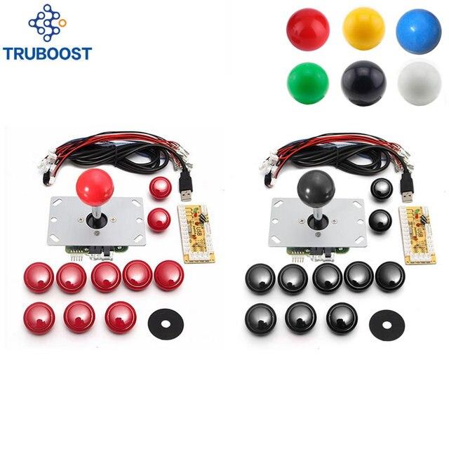 Bricolage Arcade Joystick Kits pour 2 joueurs PC jeux d'ordinateur à Arcade Joystick boutons 6 couleurs