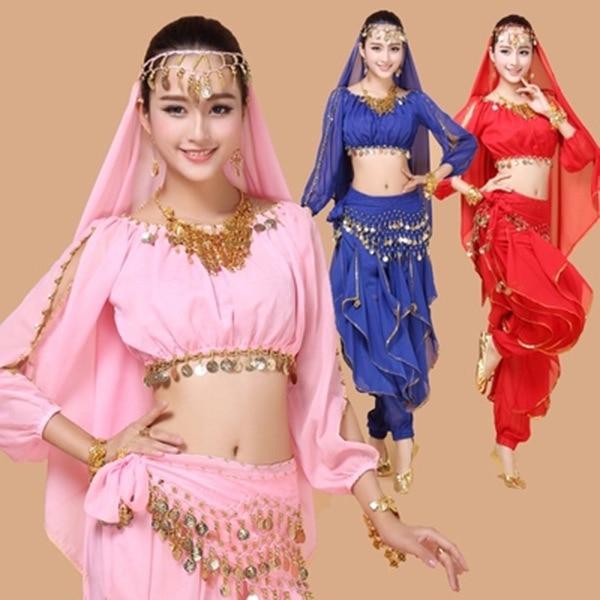 2017 New 4pcs Set Belly Dance Costume Bollywood Costume Indian Dress Bellydance Dress Womens Belly Dancing Costume Sets 4 Pcs