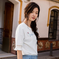 INMAN 2018 Summer Wear New Round Neckline Embroidery Loose Fringe Of The Sleeves Cotton Literary Fan