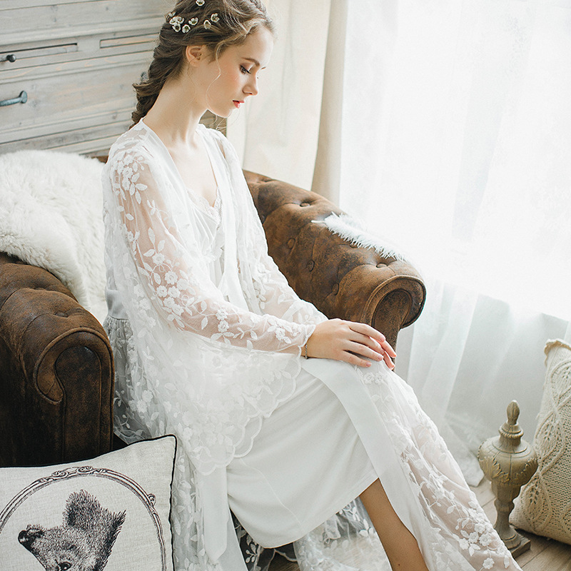 5c63bd07afd Winter sexy pajamas 2 piece Robe beautiful lace gown sling stamp long white  nightdress Gown Sets women sleeping dress night wear-in Robe   Gown Sets  from ...
