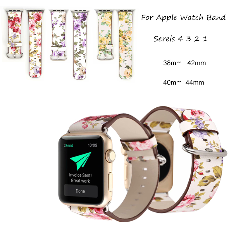 Flower Leather Band For Apple Watch Band 44mm 40mm 42mm 38mm Pastoral/Rural Bracelet Strap For iwatch 4 3 2 1 Wrist WatchbandFlower Leather Band For Apple Watch Band 44mm 40mm 42mm 38mm Pastoral/Rural Bracelet Strap For iwatch 4 3 2 1 Wrist Watchband