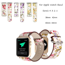 Flower Leather Band For Apple Watch Band 44mm 40mm 42mm 38mm Pastoral/Rural Bracelet Strap For iwatch 4 3 2 1 Wrist Watchband durable nylon leather strap band for apple watch 3 2 1 42mm 38mm wrist watchband with classic metal buckle bracelet for iwatch