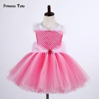 Sleeping Beauty Aurora Princess Dress Girl Fancy Gown Tulle Tutu Dress Kids Christmas Halloween Cosplay Costume