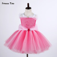 Sleeping Beauty Aurora Princess Dress Girl Fancy Gown Tulle Tutu Dress Kids Christmas Halloween Cosplay Costume