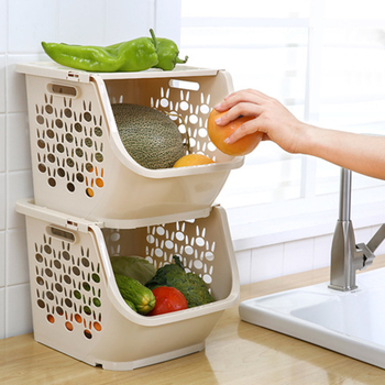 HIPSTEEN Kitchen Storage Basket Plastic Multi-functional Hollow Vegetables Fruit Racks with Cover Storage Basket for Organizers