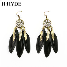 H:HYDE Dream Catcher Hollow out Vintage Leaf Feather Dangle Earrings For Women Bohemia Earring Lady's Ethnic Indian Jewelry