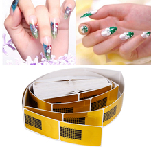 ELECOOL 100pcs Golden Nail Art Tips Sculpting Acrylic UV Gel Tips Extending Nail Tools Extension Forms Guide French DIY Kit