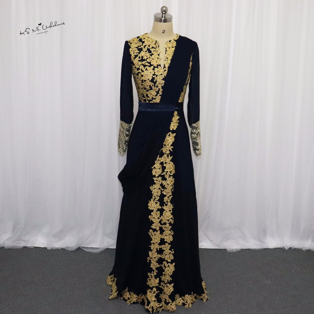 Navy blue abaya long sleeve muslim evening dress lace prom for Navy evening dresses for weddings