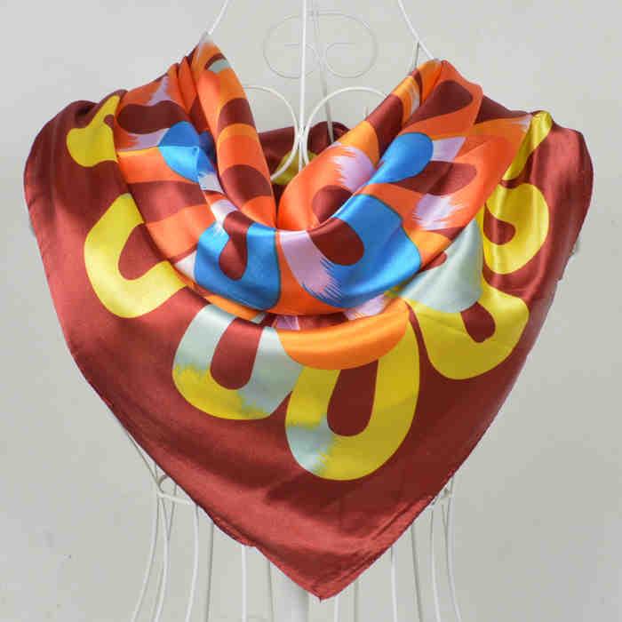 Дизайн женский Шелковый большой квадратный шелковый шарф из полиэстера, 90*90 см горячая Распродажа атласный шарф с принтом для весны, лета, осени, зимы - Цвет: 197 red