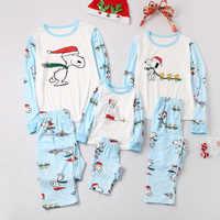 2019 New Arrivals Christmas Clothing Bear Cartoon Print Black White Long Sleeve Top+pants Family Matching Christmas Pajamas Set