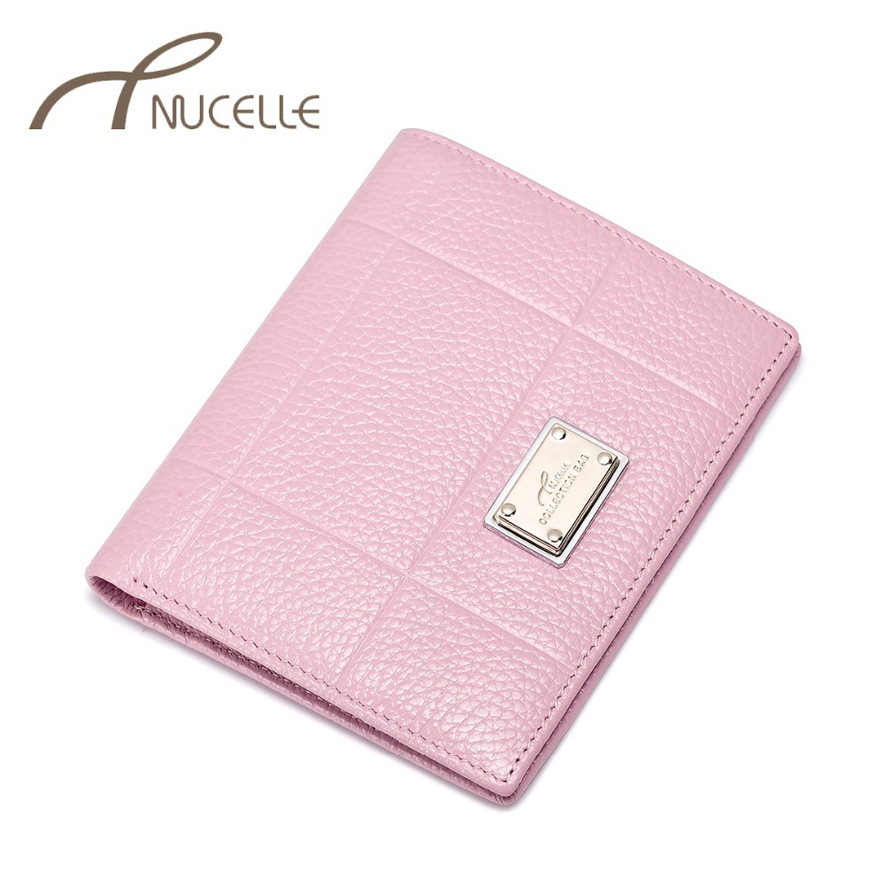 NUCELLE Women's Genuine Leather Wallets Ladies Natural Leather Purse Female Leisure Cowhide Brief Wallets Gift Box Packing