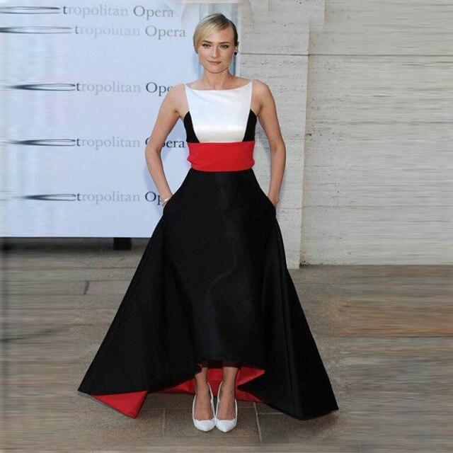 2d0c6827b1 Robe de soirée largo rojo blanco y la espalda de noche vestidos alto bajo  estilo de