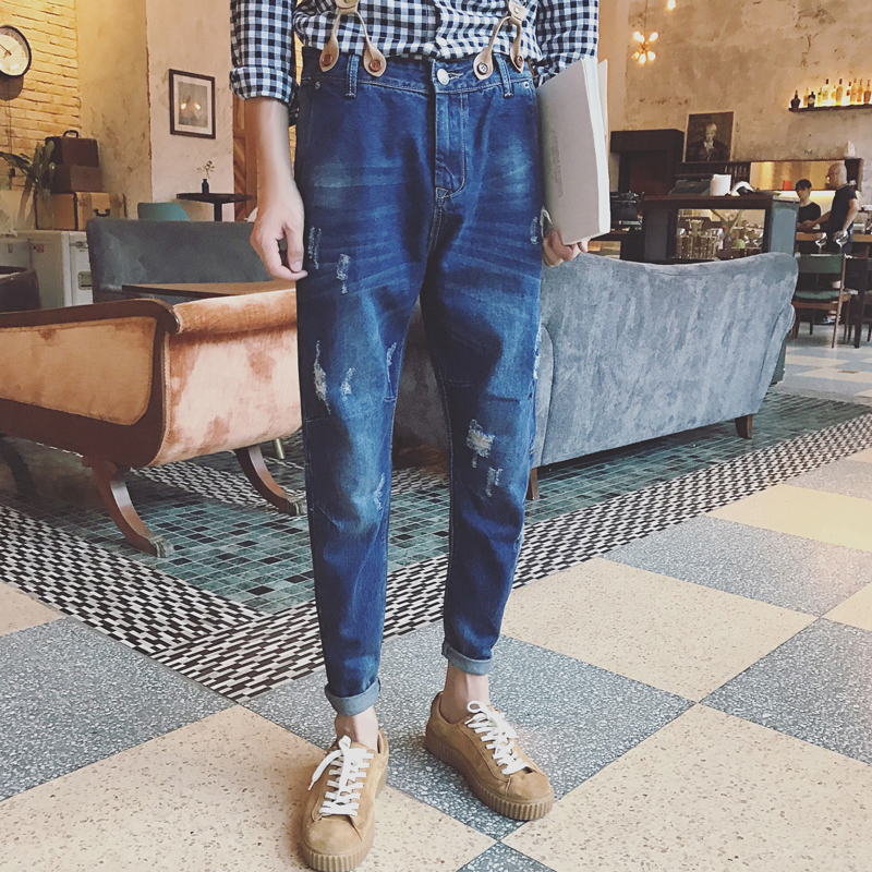 2016 High Quality Man Pockets Suspenders Distressed Hip Hop Jeans Pants Denim Overalls Casual Men denim overalls male suspenders front pockets men s ripped jeans casual hole blue bib jeans boyfriend jeans jumpsuit or04