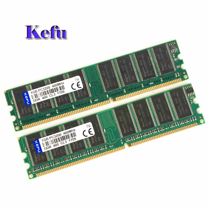 2Pcs 2x1GB DDR1 PC3200 DDR 400 Mhz Low density memory 2Rx8 CL3 DIMM Desktop Memory CL3
