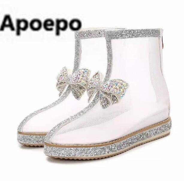 Apoepo 2018 summer autumn ankle boots round toe white shoes women summer lace flats shoes crystal butterfly-knot Thick bottom hongyi women motorcycle biker ankle boots glossy leather rhinestone crystal ridding bootie bow butterfly knot shoes thick heels