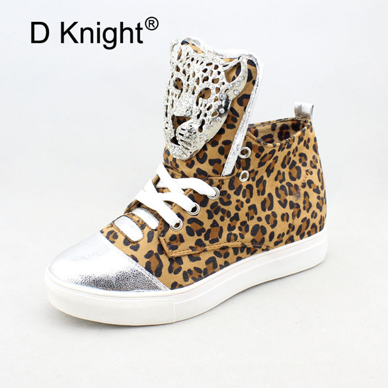 2018 Spring Women New Sneakers Fashion Lady Flats Female Shoes for Student Crystal Leopard Casual Height Increased Wedges Shoes