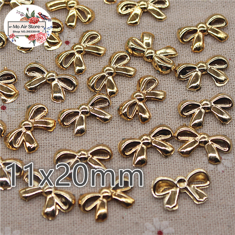 100pcs 11x20mm Plastic Golden Bowknot Resin Flatback Cabochon DIY Jewelry/phone Charm Decoration