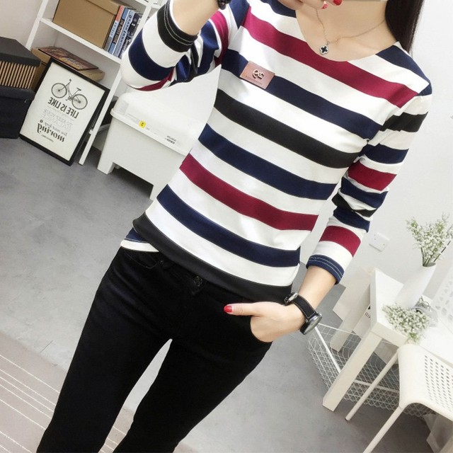 New Autumn Korean Female T-shirt Fashion Long Sleeve Colorful Stripe T shirt Women Kawaii Student T-shirts Casual Women Tops