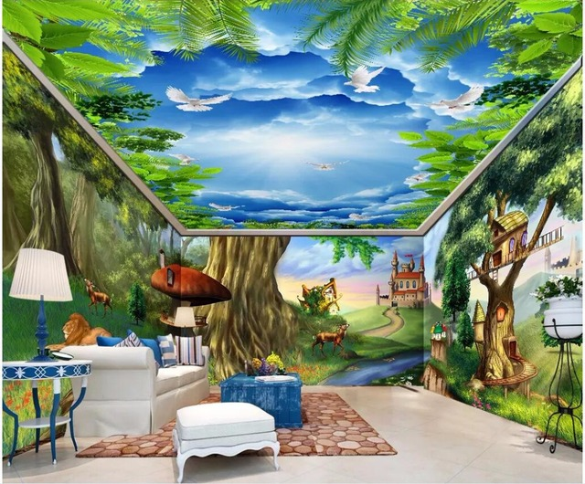 Custom Mural Photo 3d Wallpaper Fantasy Fairytale Forest Animal Castle Room Home Decor Wall Murals