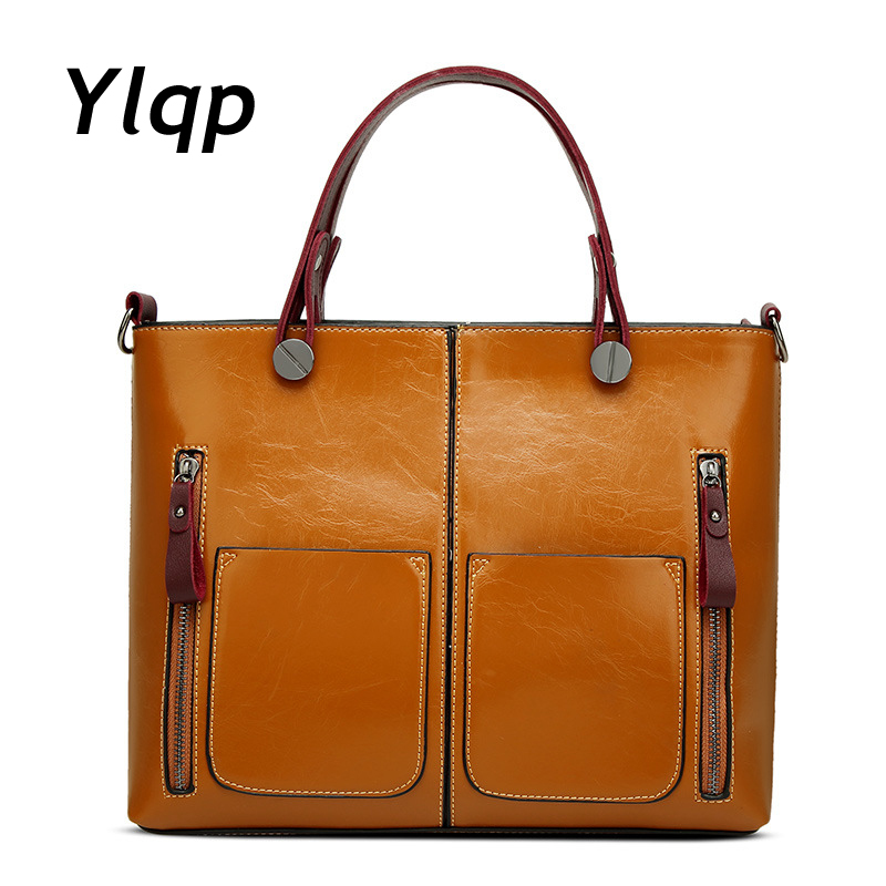 2018 New Arrival European and American Style Vintage Oil Wax PU Leather One Shoulder Bags Handbags Women Famous Brands Tote Bag neverout oil wax style split leather bag for women vintage boston bag shoulder sac 3 color handbags tote zipper tote new handbag
