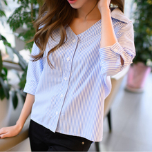 MOARCHO 2017 Summer Momen Striped Blouse Fashion Casual Blue V-Neck Seven Sleeve Buttons Blouse Women Tops Blusas Vestidos