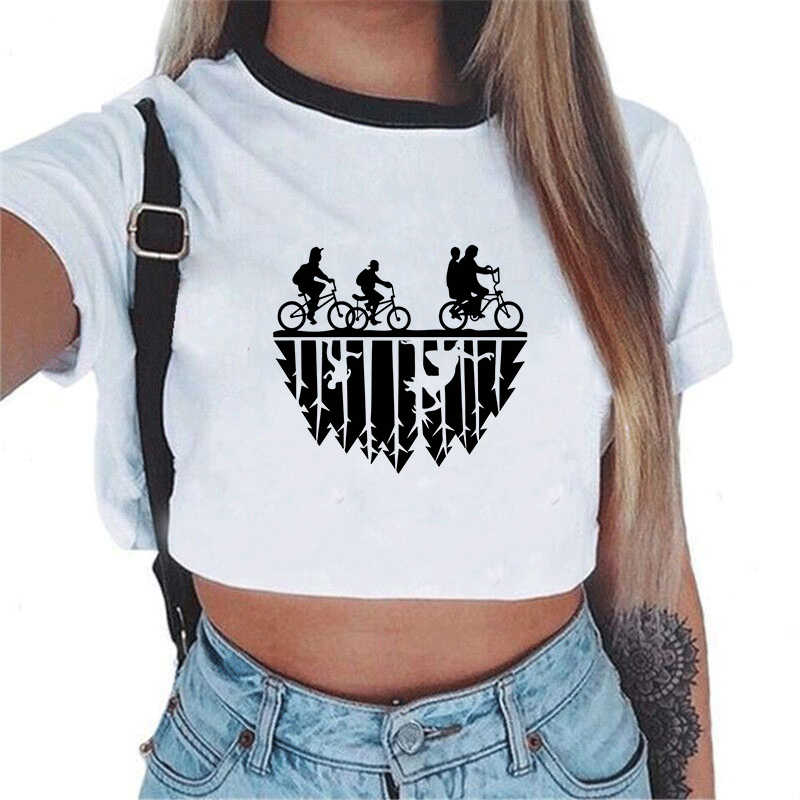 T Shirt Women Stranger Thing Harajuku Short Sleeve Ladies T-shirts Cropped Top STRANGER THINGS Letters Printed Tees Mujer Female
