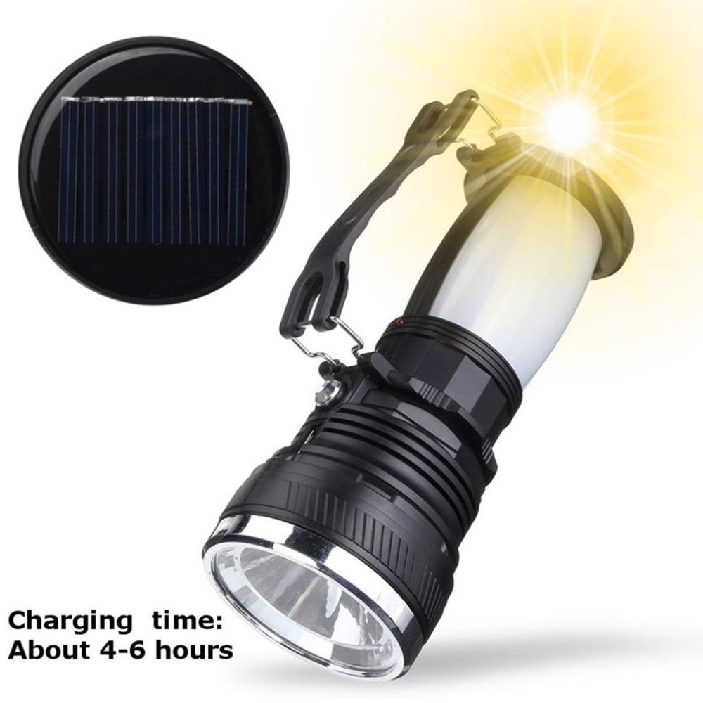 Solar Power//USB Rechargeable LED Flashlight Camping Hiking Light Lantern Lamp
